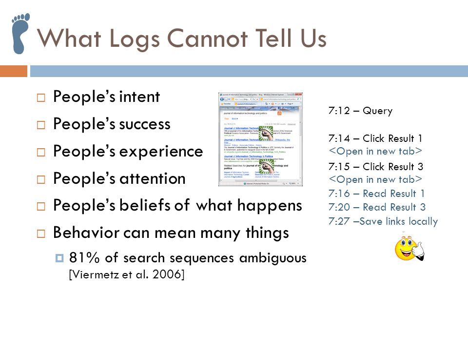 7:16 – Try new engine What Logs Cannot Tell Us  People's intent  People's success  People's experience  People's attention  People's beliefs of what happens  Behavior can mean many things  81% of search sequences ambiguous [Viermetz et al.