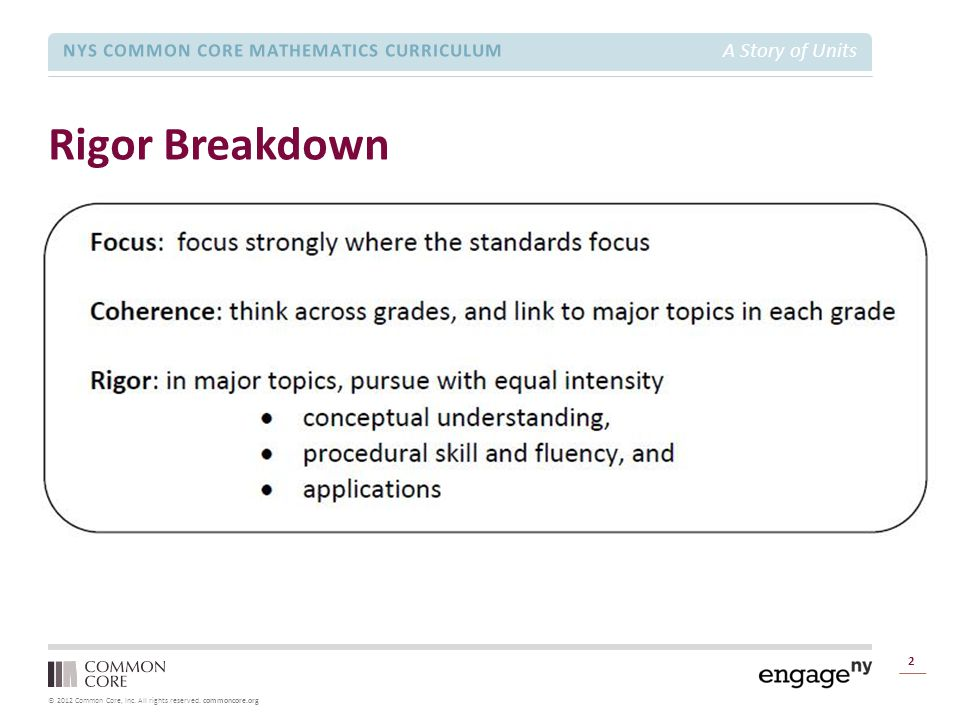© 2012 Common Core, Inc. All rights reserved. commoncore.org NYS COMMON CORE MATHEMATICS CURRICULUM A Story of Units Rigor Breakdown 2