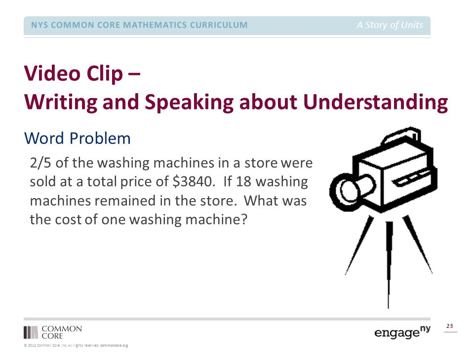 © 2012 Common Core, Inc. All rights reserved. commoncore.org NYS COMMON CORE MATHEMATICS CURRICULUM A Story of Units Video Clip – Writing and Speaking