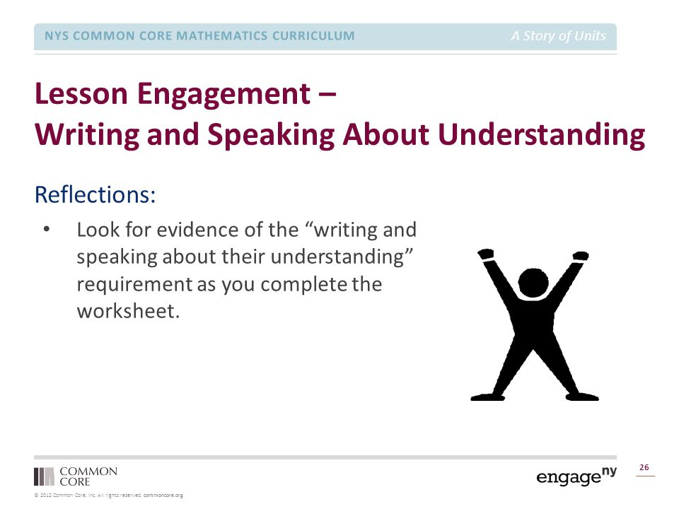 © 2012 Common Core, Inc. All rights reserved. commoncore.org NYS COMMON CORE MATHEMATICS CURRICULUM A Story of Units Lesson Engagement – Writing and S