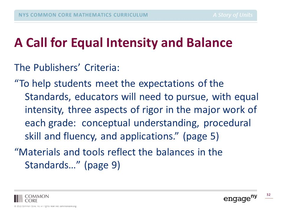 © 2012 Common Core, Inc. All rights reserved. commoncore.org NYS COMMON CORE MATHEMATICS CURRICULUM A Story of Units A Call for Equal Intensity and Ba