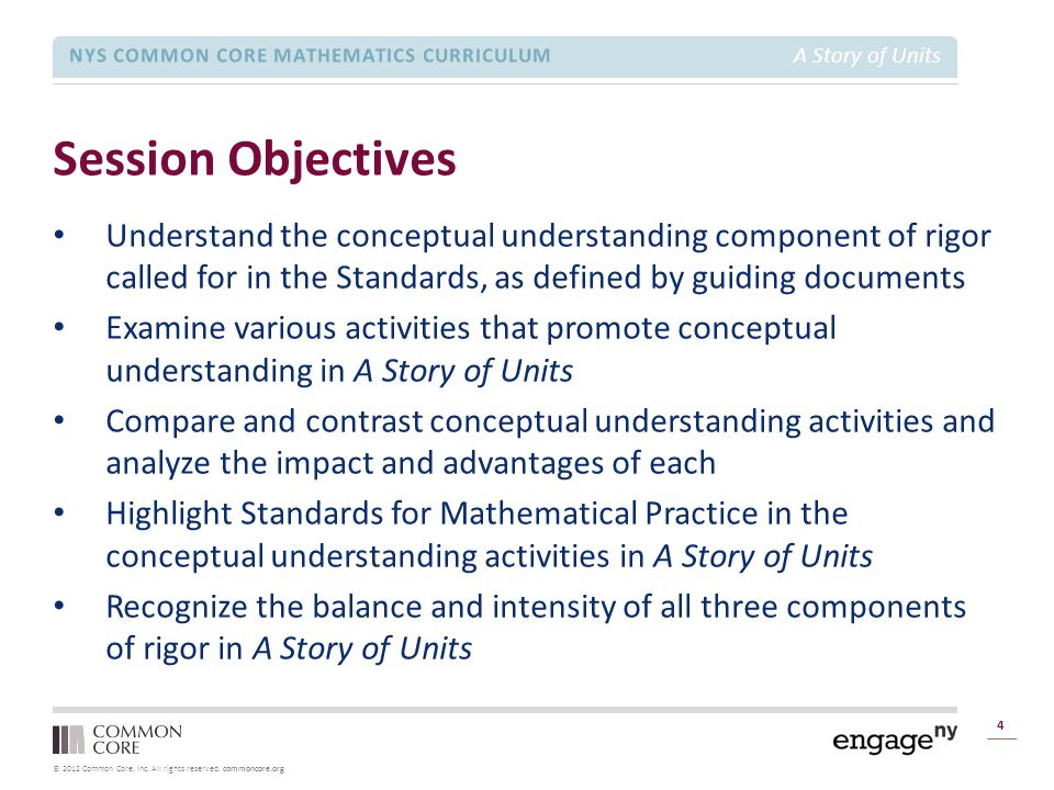 © 2012 Common Core, Inc. All rights reserved. commoncore.org NYS COMMON CORE MATHEMATICS CURRICULUM A Story of Units Session Objectives 4 Understand t