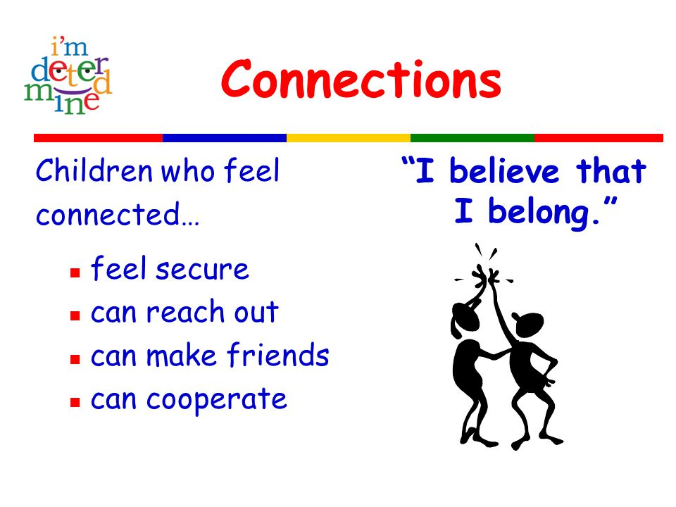 Connections Children who feel connected… feel secure can reach out can make friends can cooperate I believe that I belong.