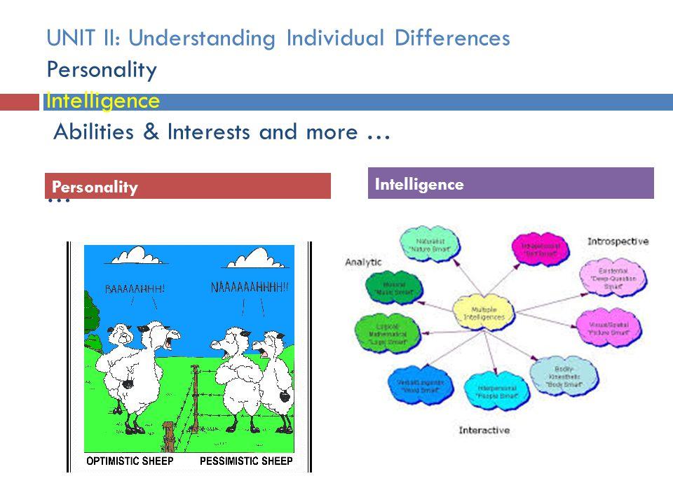  Multiple Intelligences Personality Intelligence UNIT II: Understanding Individual Differences Personality Intelligence Abilities & Interests and mor