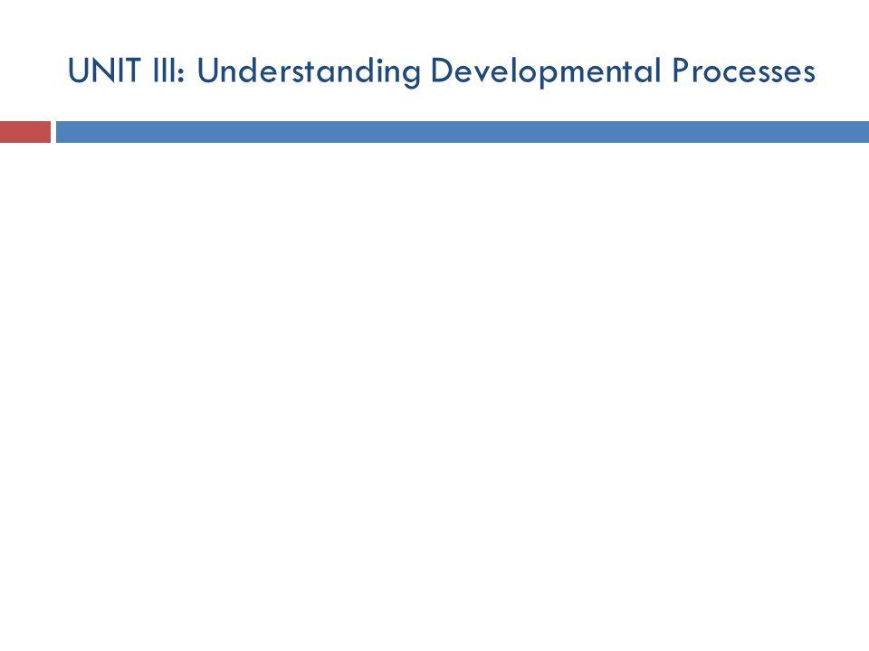 UNIT III: Understanding Developmental Processes
