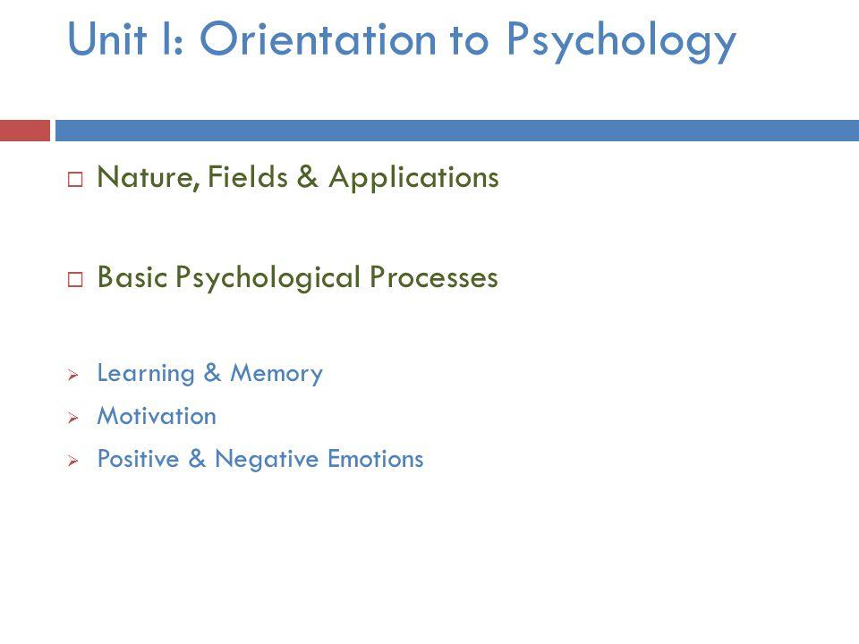 Unit I: Orientation to Psychology  Nature, Fields & Applications  Basic Psychological Processes  Learning & Memory  Motivation  Positive & Negati