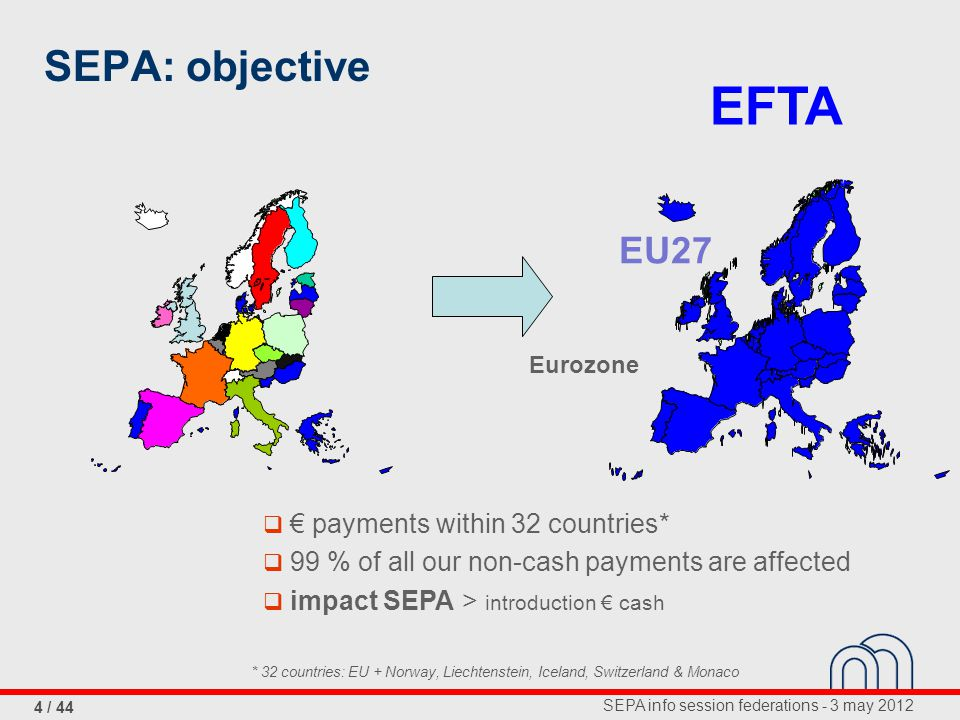 SEPA info session federations - 3 may 2012 4 / 44 SEPA: objective EFTA EU27 Eurozone  € payments within 32 countries*  99 % of all our non-cash payments are affected  impact SEPA > introduction € cash * 32 countries: EU + Norway, Liechtenstein, Iceland, Switzerland & Monaco
