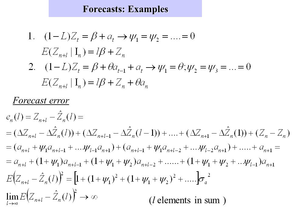 Forecasts (cont) Unit Root: