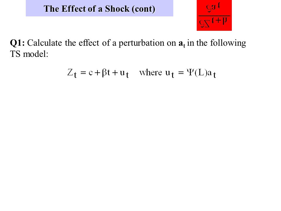 The Effect of a Shock (cont) (2) (3)
