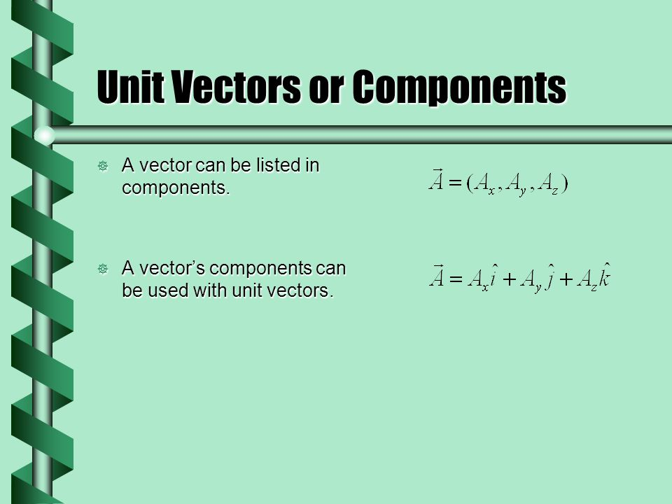 Unit Vectors or Components  A vector can be listed in components.