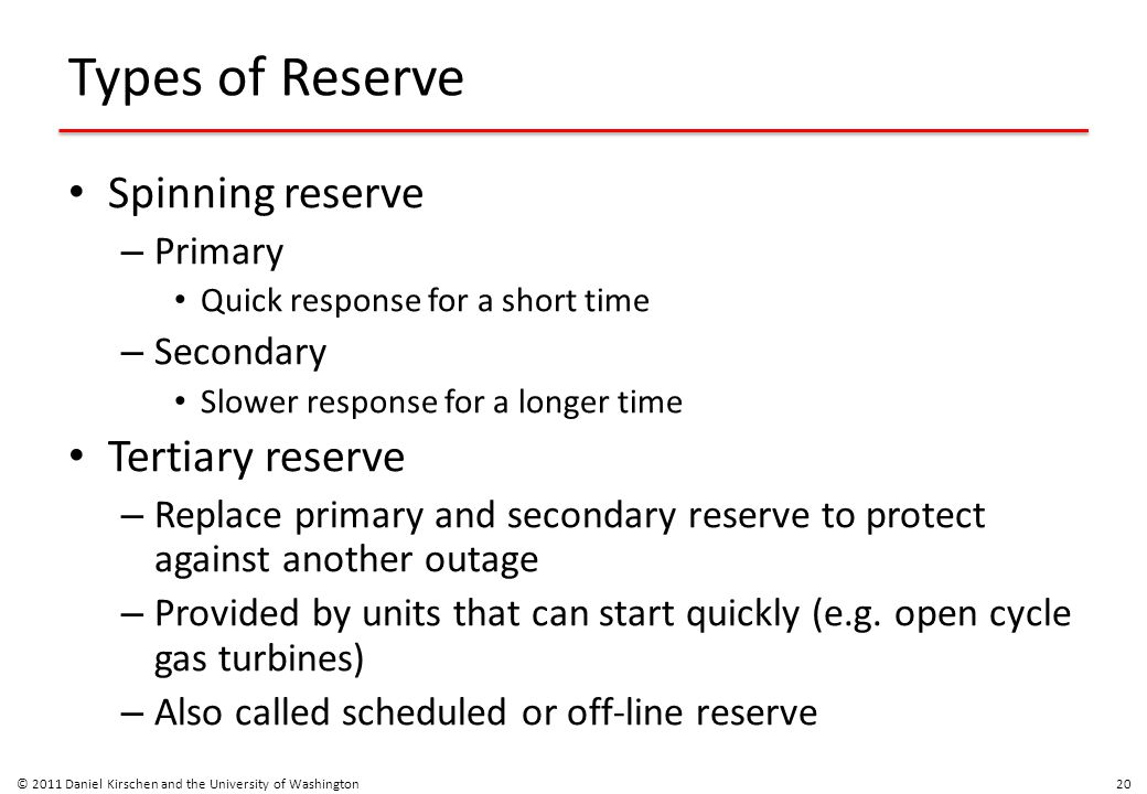 Types of Reserve Spinning reserve – Primary Quick response for a short time – Secondary Slower response for a longer time Tertiary reserve – Replace p