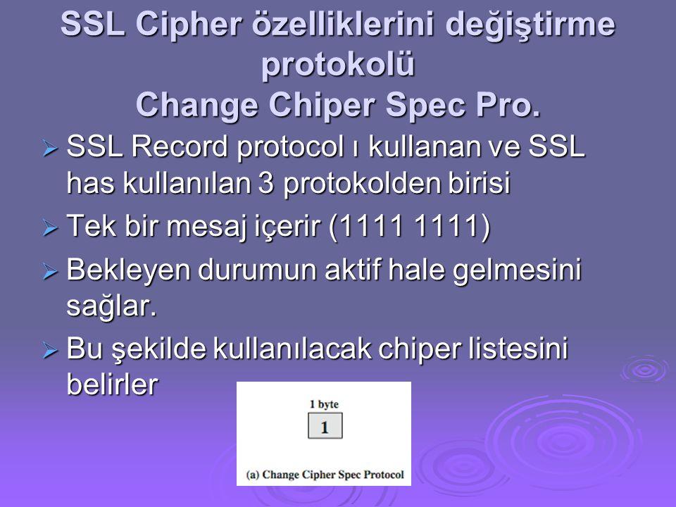 SSL Cipher özelliklerini değiştirme protokolü Change Chiper Spec Pro.