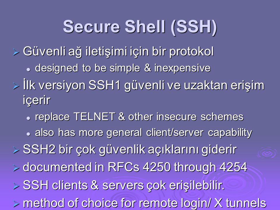 Secure Shell (SSH)  Güvenli ağ iletişimi için bir protokol designed to be simple & inexpensive designed to be simple & inexpensive  İlk versiyon SSH1 güvenli ve uzaktan erişim içerir replace TELNET & other insecure schemes replace TELNET & other insecure schemes also has more general client/server capability also has more general client/server capability  SSH2 bir çok güvenlik açıklarını giderir  documented in RFCs 4250 through 4254  SSH clients & servers çok erişilebilir.