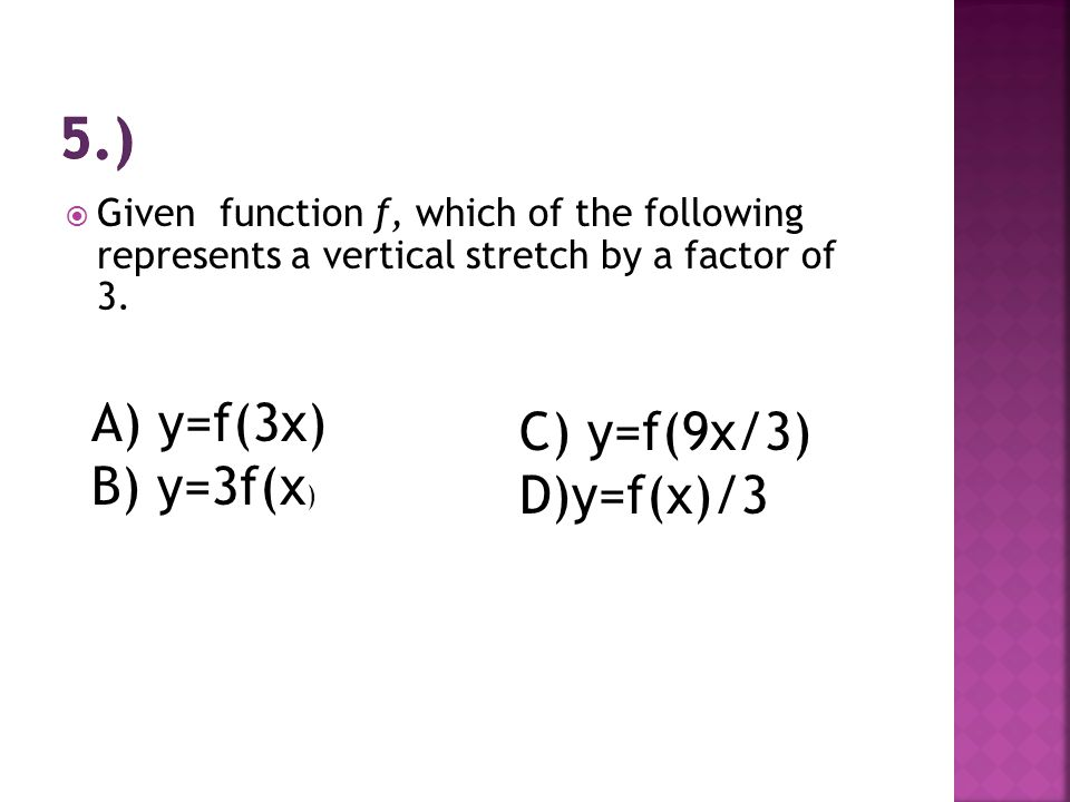  Given function f, which of the following represents a vertical stretch by a factor of 3.