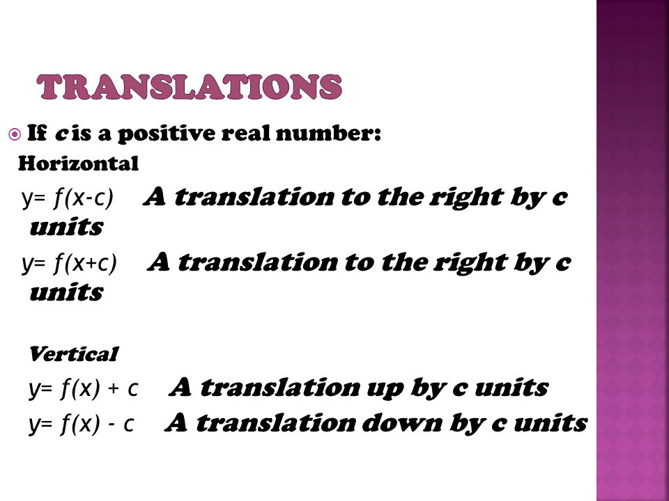 If c is a positive real number: Horizontal y= f(x-c) A translation to the right by c units y= f(x+c) A translation to the right by c units Vertical