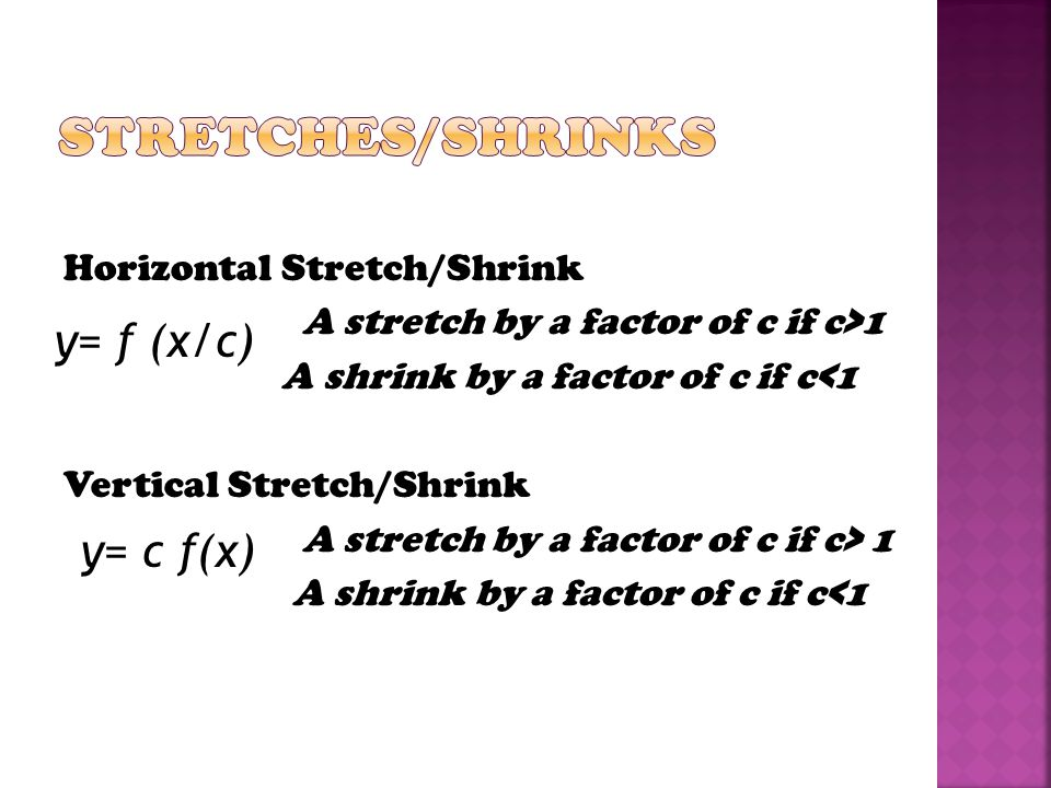 Horizontal Stretch/Shrink A stretch by a factor of c if c>1 A shrink by a factor of c if c<1 Vertical Stretch/Shrink A stretch by a factor of c if c>