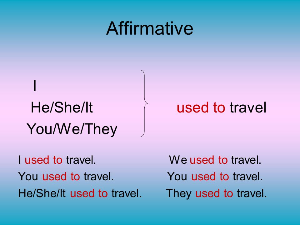 Affirmative I He/She/It used to travel You/We/They I used to travel. We used to travel. You used to travel. He/She/It used to travel. They used to tra