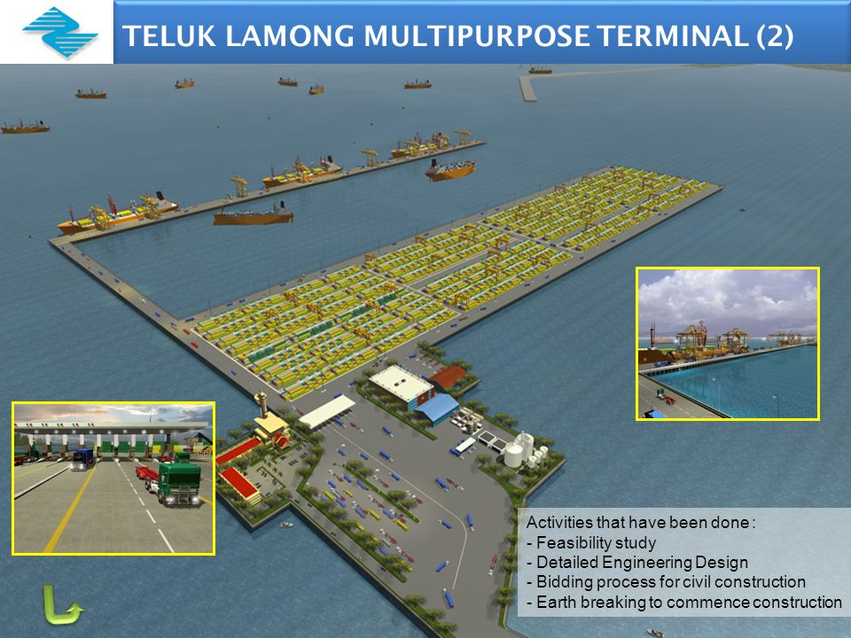 TELUK LAMONG MULTIPURPOSE TERMINAL (2) 9 Activities that have been done : - Feasibility study - Detailed Engineering Design - Bidding process for civil construction - Earth breaking to commence construction