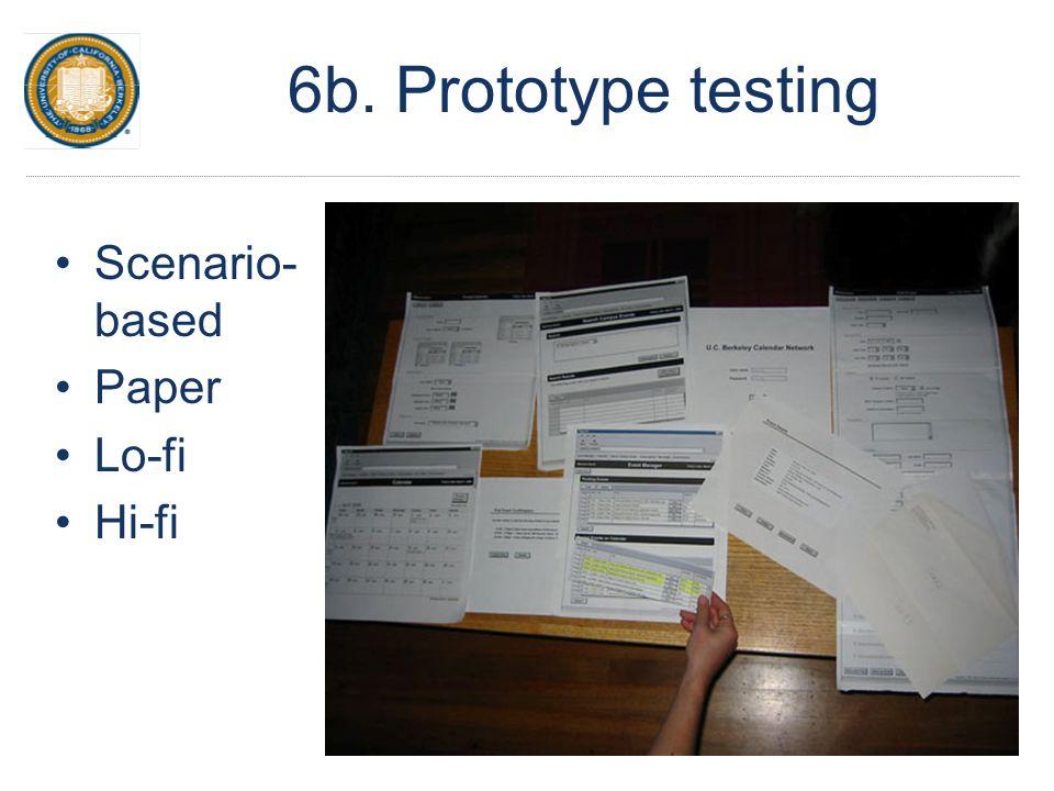 6b. Prototype testing Scenario- based Paper Lo-fi Hi-fi