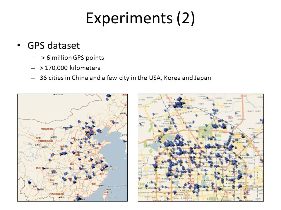 Experiments (2) GPS dataset – > 6 million GPS points – > 170,000 kilometers – 36 cities in China and a few city in the USA, Korea and Japan