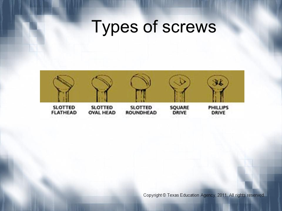 Types of screws Copyright © Texas Education Agency, 2011. All rights reserved.