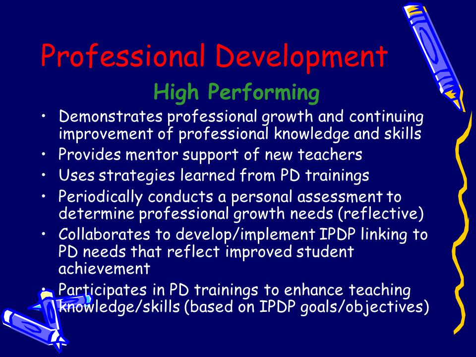 #6 Professional Development Meets/Exceeds Determines professional development needs Participates in district sponsored staff development programs Coll