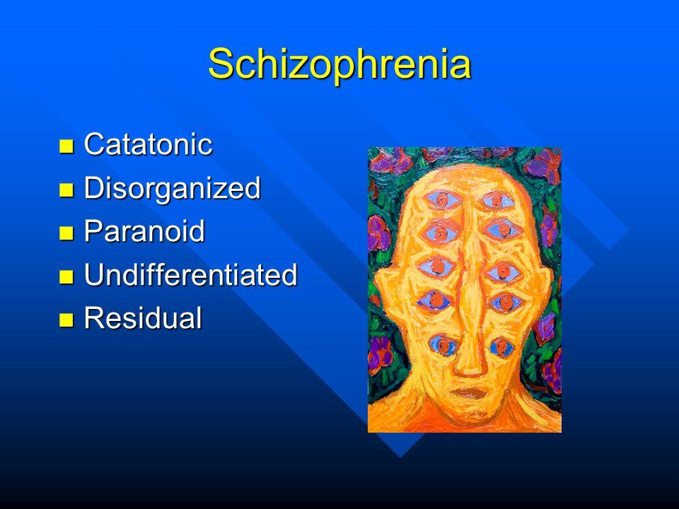 Schizophrenia Catatonic Catatonic Disorganized Disorganized Paranoid Paranoid Undifferentiated Undifferentiated Residual Residual