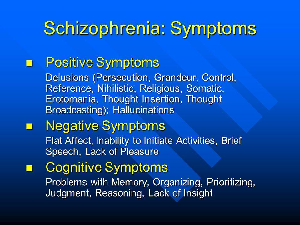 Schizophrenia: Symptoms Positive Symptoms Positive Symptoms Delusions (Persecution, Grandeur, Control, Reference, Nihilistic, Religious, Somatic, Erot