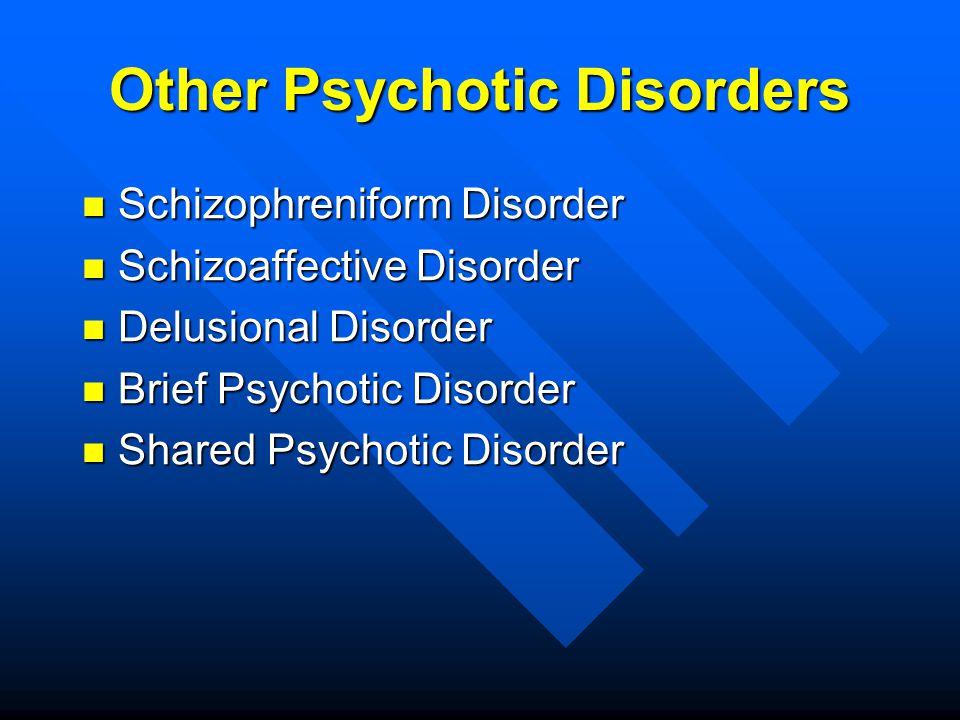 Other Psychotic Disorders Schizophreniform Disorder Schizophreniform Disorder Schizoaffective Disorder Schizoaffective Disorder Delusional Disorder De