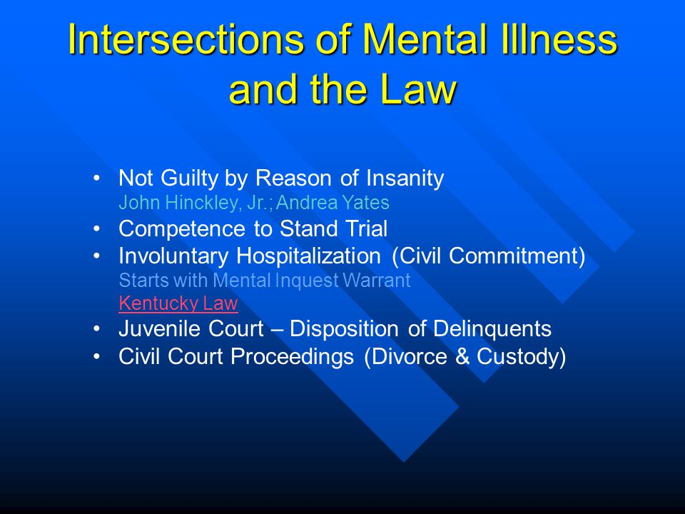 Intersections of Mental Illness and the Law Not Guilty by Reason of Insanity John Hinckley, Jr.; Andrea Yates Competence to Stand Trial Involuntary Ho