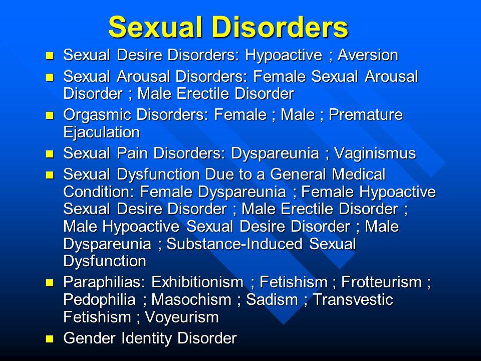 Sexual Disorders Sexual Desire Disorders: Hypoactive ; Aversion Sexual Desire Disorders: Hypoactive ; Aversion Sexual Arousal Disorders: Female Sexual