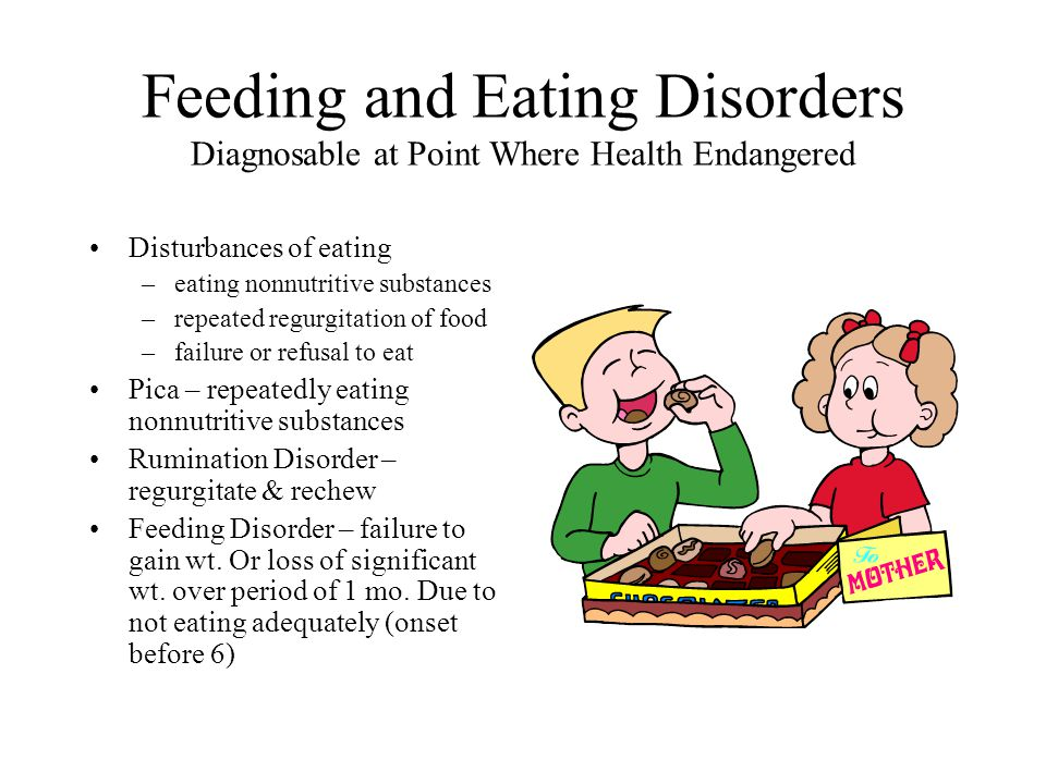 Feeding and Eating Disorders Diagnosable at Point Where Health Endangered Disturbances of eating –eating nonnutritive substances –repeated regurgitati