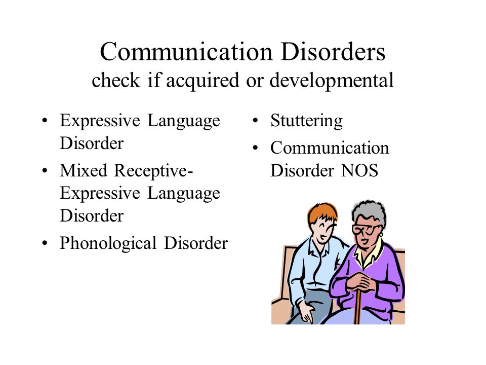 Communication Disorders check if acquired or developmental Expressive Language Disorder Mixed Receptive- Expressive Language Disorder Phonological Dis