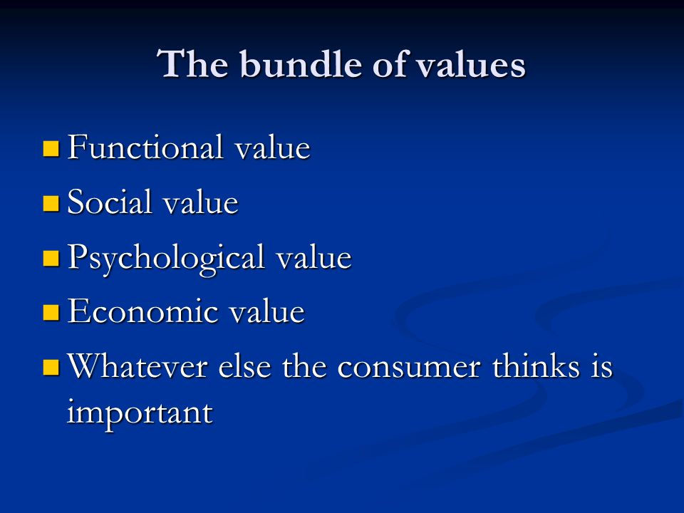 The bundle of values Functional value Functional value Social value Social value Psychological value Psychological value Economic value Economic value Whatever else the consumer thinks is important Whatever else the consumer thinks is important