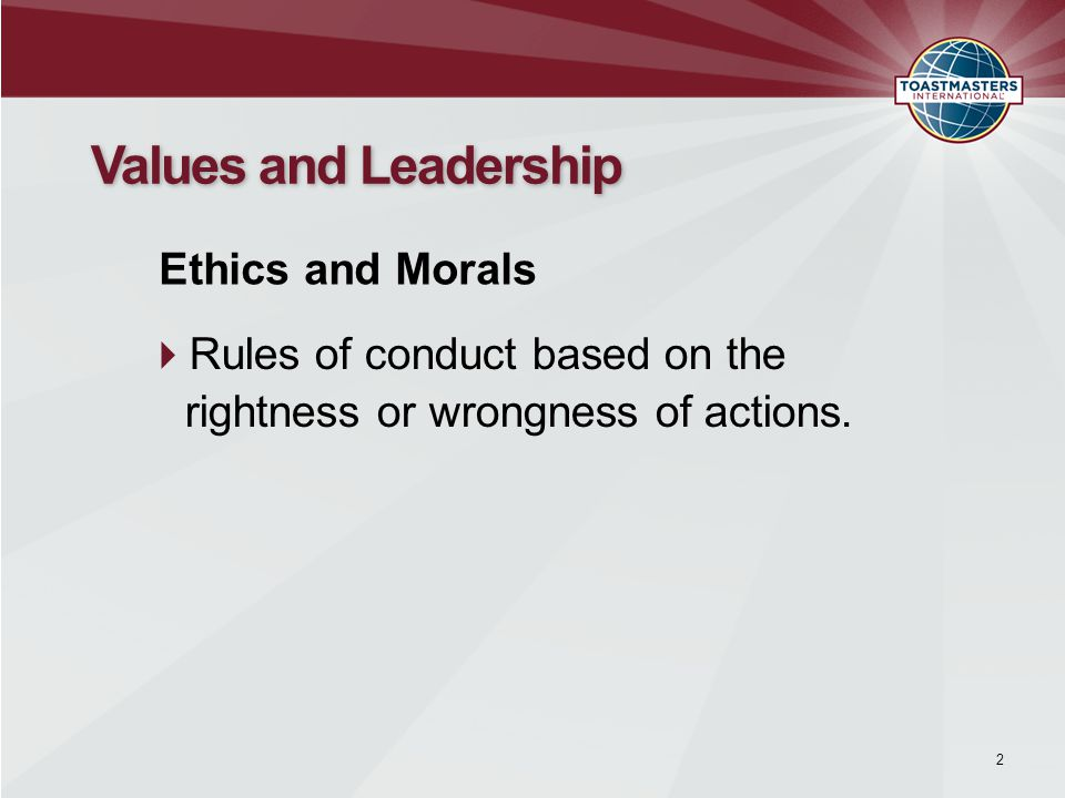  Rules of conduct based on the rightness or wrongness of actions.