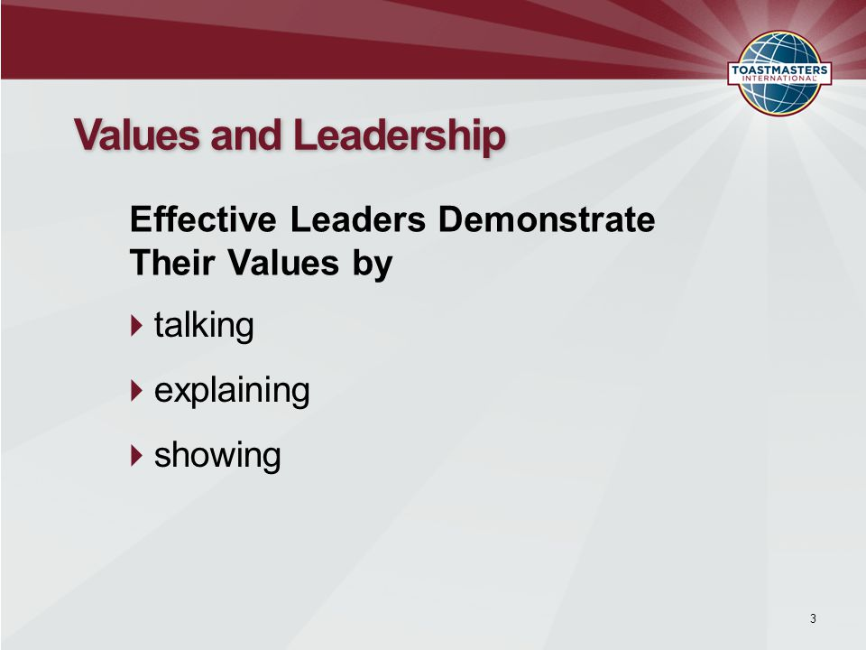  talking  explaining  showing 3 Values and Leadership Effective Leaders Demonstrate Their Values by