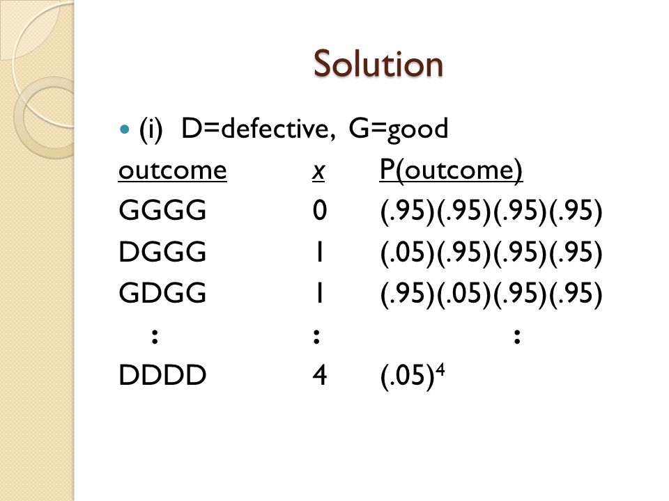 Solution (i) D=defective, G=good outcomexP(outcome) GGGG0(.95)(.95)(.95)(.95) DGGG1(.05)(.95)(.95)(.95) GDGG1(.95)(.05)(.95)(.95) ::: DDDD4(.05) 4