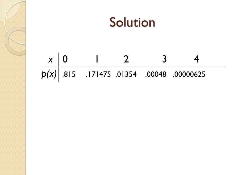 Solution x0 1 2 3 4 p(x).815.171475.01354.00048.00000625