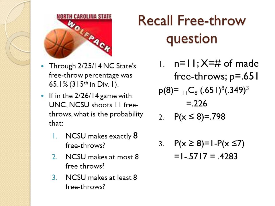 Recall Free-throw question Through 2/25/14 NC State's free-throw percentage was 65.1% (315 th in Div. 1). If in the 2/26/14 game with UNC, NCSU shoots