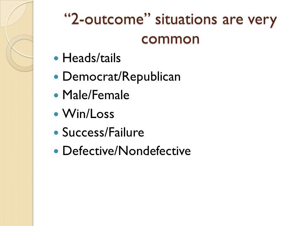 """2-outcome"" situations are very common Heads/tails Democrat/Republican Male/Female Win/Loss Success/Failure Defective/Nondefective"