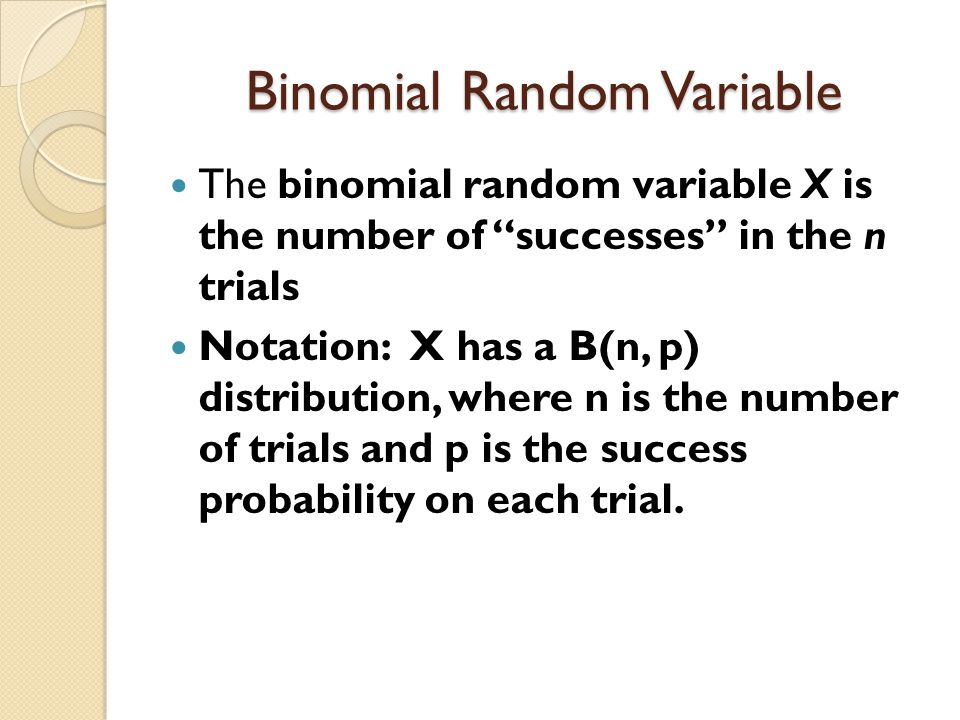 Use binomial rv to analyze n=100 taste testers x=# who prefer Hardees chicken p=probability a taste tester chooses Hardees If p=.5, P(x  63) =.0061 (since the probability is so small, p is probably NOT.5; p is probably greater than.5, that is, Hardee's chicken is probably better).