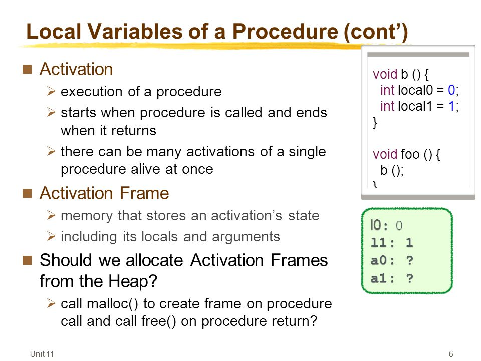 Unit 11 6 Local Variables of a Procedure (cont') Activation  execution of a procedure  starts when procedure is called and ends when it returns  there can be many activations of a single procedure alive at once Activation Frame  memory that stores an activation's state  including its locals and arguments Should we allocate Activation Frames from the Heap.