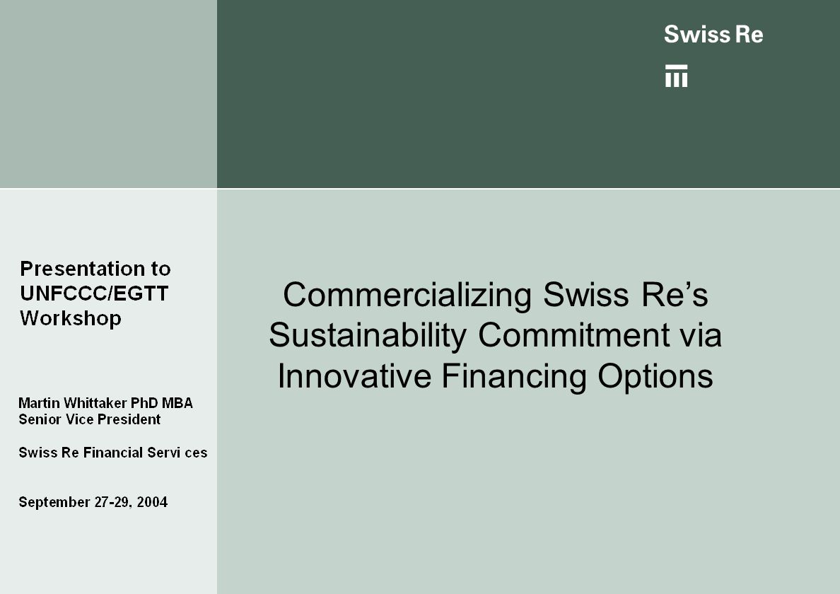 Commercializing Swiss Re's Sustainability Commitment via Innovative Financing Options