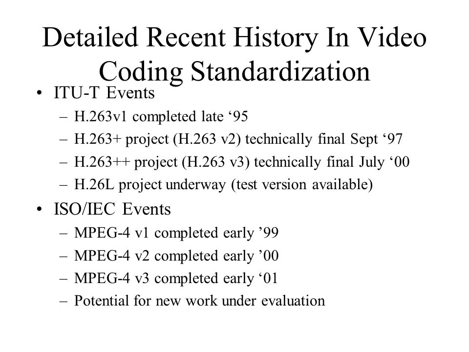 Detailed Recent History In Video Coding Standardization ITU-T Events –H.263v1 completed late '95 –H.263+ project (H.263 v2) technically final Sept '97