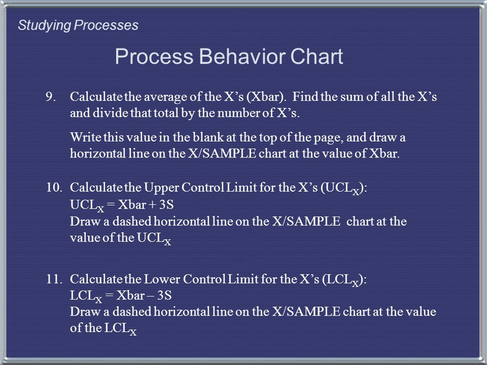 Studying Processes Process Behavior Chart 9.Calculate the average of the X's (Xbar).
