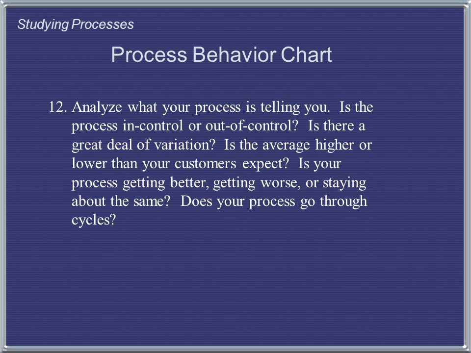 Studying Processes Process Behavior Chart 12.Analyze what your process is telling you.