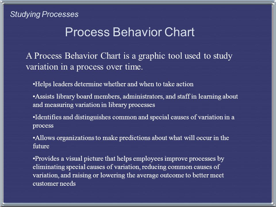 Studying Processes Process Behavior Chart A Process Behavior Chart is a graphic tool used to study variation in a process over time.