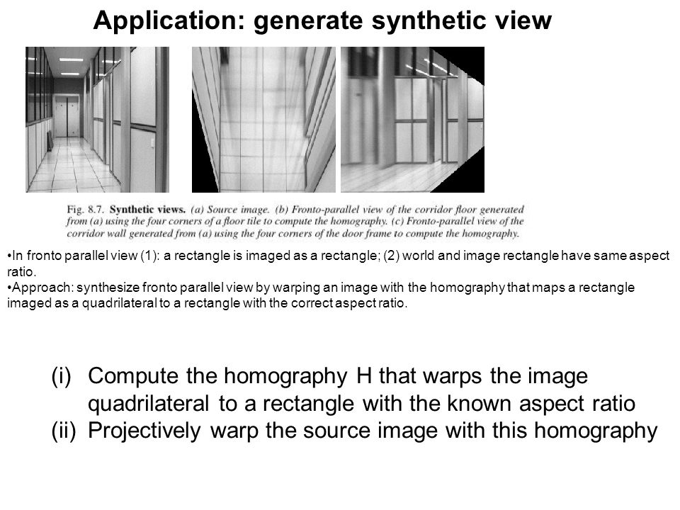 Application: generate synthetic view (i)Compute the homography H that warps the image quadrilateral to a rectangle with the known aspect ratio (ii)Pro
