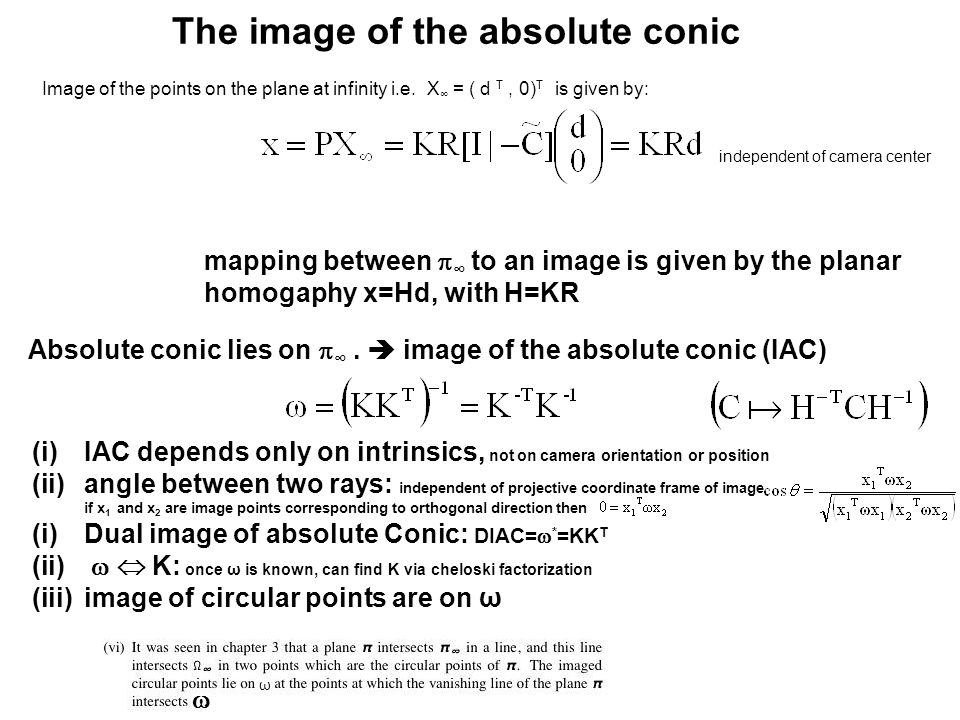 The image of the absolute conic mapping between  ∞ to an image is given by the planar homogaphy x=Hd, with H=KR Absolute conic lies on  ∞.  image o