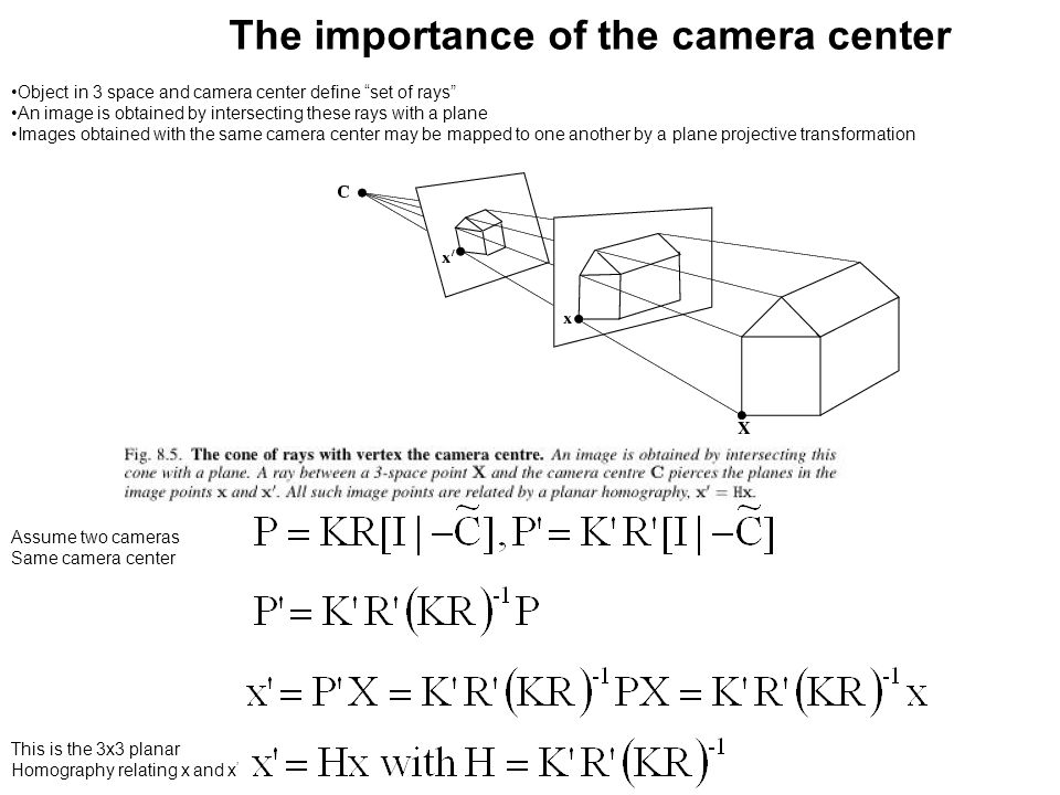 "The importance of the camera center Object in 3 space and camera center define ""set of rays"" An image is obtained by intersecting these rays with a pl"